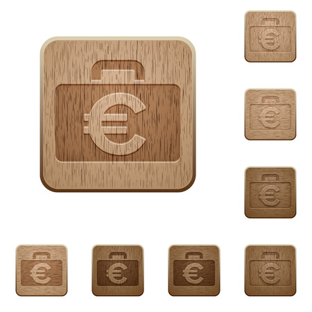 variations set: Set of carved wooden Euro bag buttons in 8 variations.