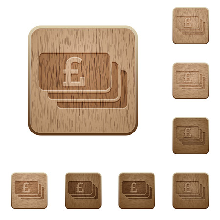 carved: Set of carved wooden Pound banknotes buttons in 8 variations.