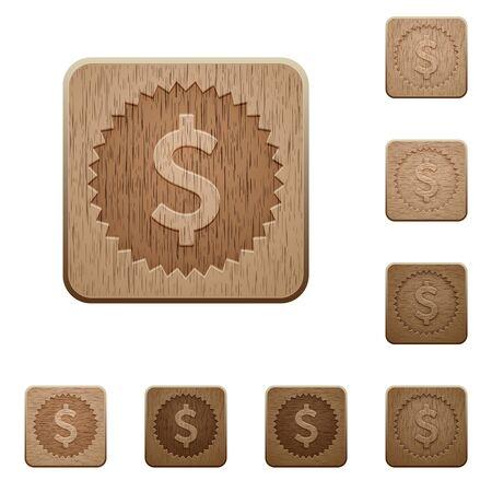 variations: Set of carved wooden Dollar sticker buttons in 8 variations. Illustration