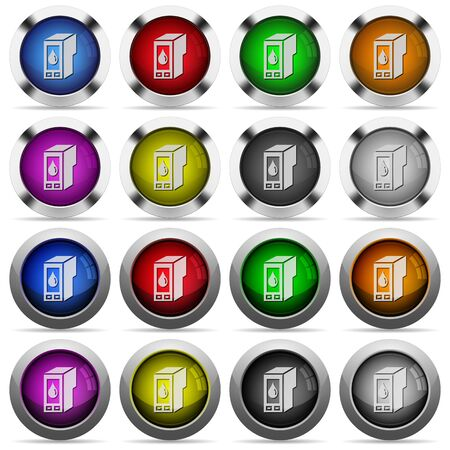cartridge: Set of Ink cartridge glossy web buttons. Arranged layer structure.