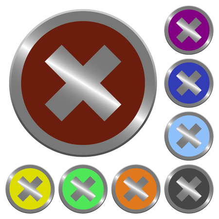 no edges: Set of glossy coin-like color cancel buttons.
