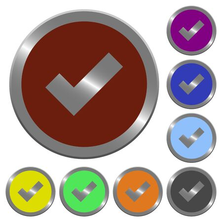 Set of glossy coin-like color ok buttons. Illustration