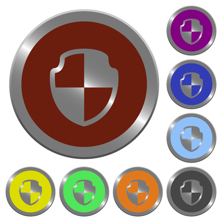 coinlike: Set of glossy coin-like color shield buttons.
