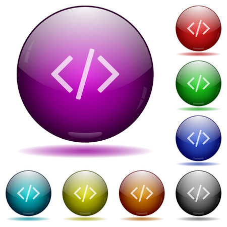 asp: Set of color Programming code glass sphere buttons with shadows. Illustration