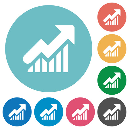 Flat rising graph icon set on round color background. Illusztráció