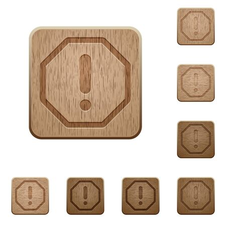 variations: Set of carved wooden Error buttons in 8 variations.