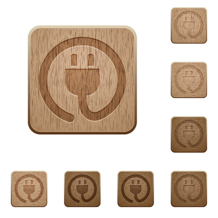 carved: Set of carved wooden Power cord buttons in 8 variations.
