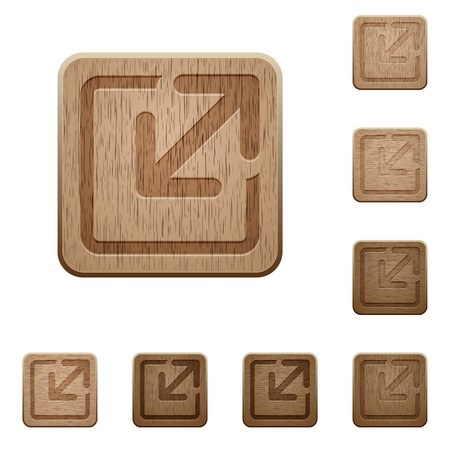 resize: Set of carved wooden Resize element buttons in 8 variations. Illustration