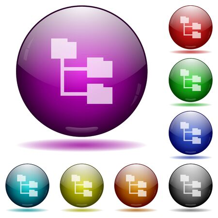 glass sphere: Set of color Folder structure glass sphere buttons with shadows. Illustration