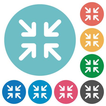 minimize: Flat minimize icon set on round color background. Illustration