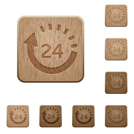 spedition: Set of carved wooden one day delivery buttons in 8 variations.