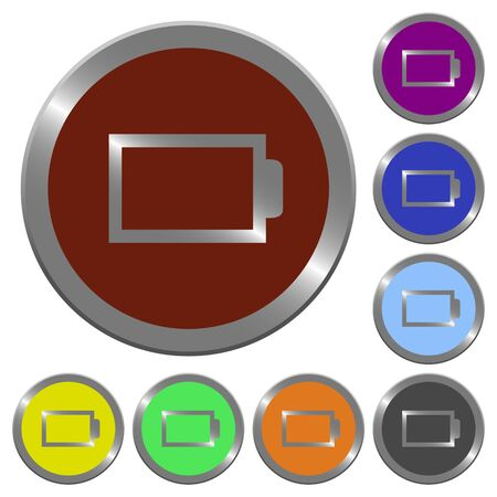 Set of glossy coin-like color empty battery buttons. Illustration