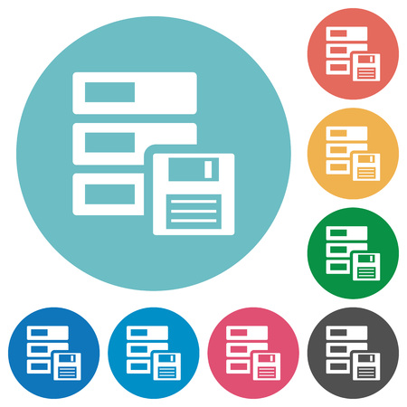 harddrive: Flat backup icon set on round color background.