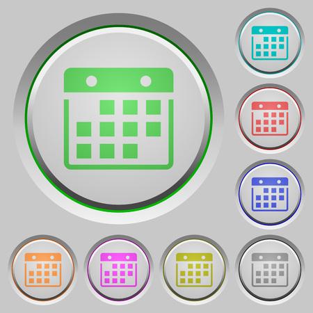 sunk: Set of color Hanging calendar sunk push buttons.