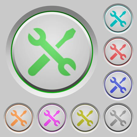 sunk: Set of color tools sunk push buttons.