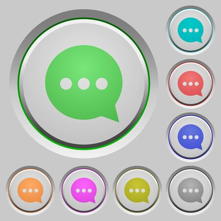 sunk: Set of color Working chat sunk push buttons. Illustration