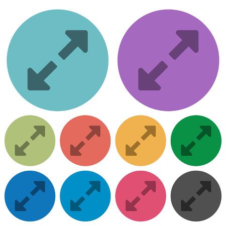 resize: Color resize full flat icon set on round background. Illustration