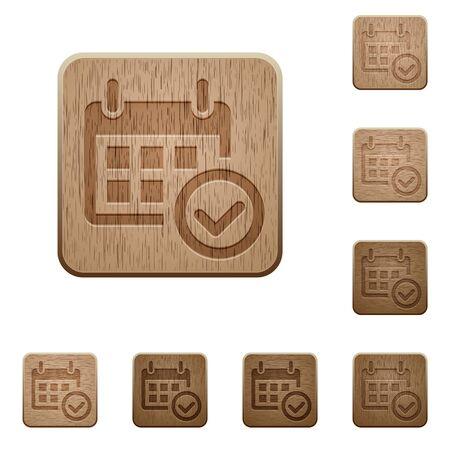 variations: Set of carved wooden Calendar check buttons in 8 variations. Illustration