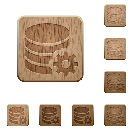configuration: Set of carved wooden Database configuration buttons in 8 variations.