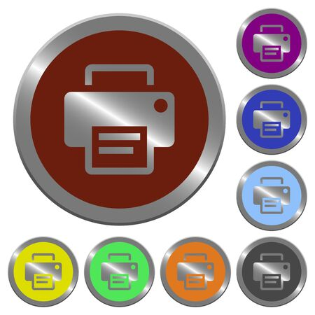 Set of glossy coin-like color printer buttons.