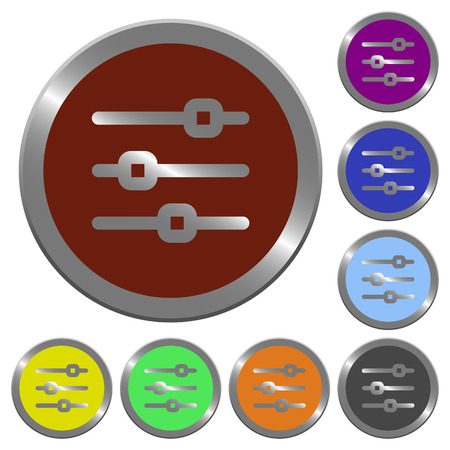 adjustment: Set of glossy coin-like color horizontal adjustment buttons. Illustration