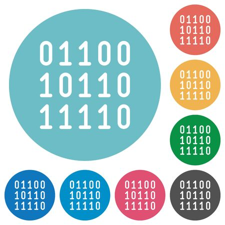 binary data: Flat binary code icon set on round color background.