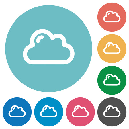 plain button: Flat cloud icon set on round color background. Illustration