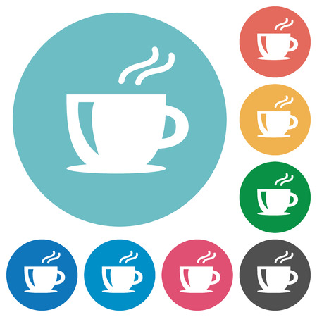 icon buttons: Flat coffee icon set on round color background.