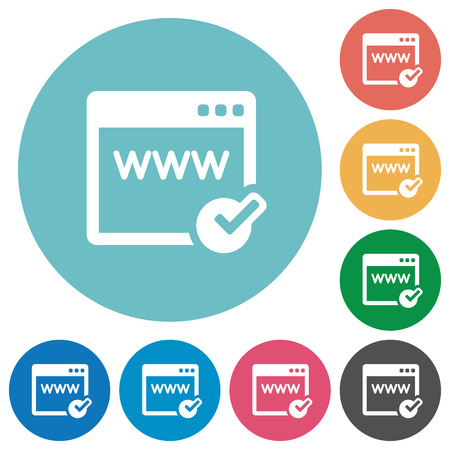 Flat domain registration icon set on round color background. Vectores