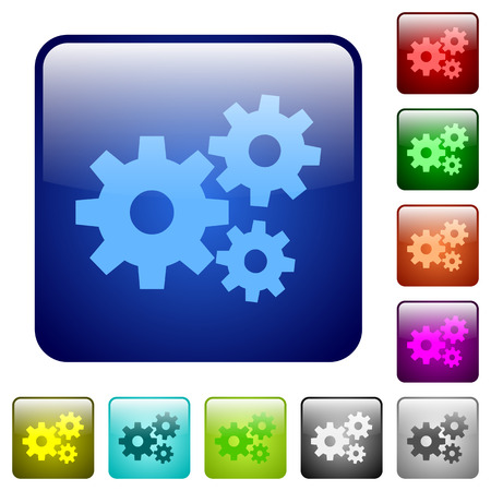 rounded: Set of gears color glass rounded square buttons Illustration