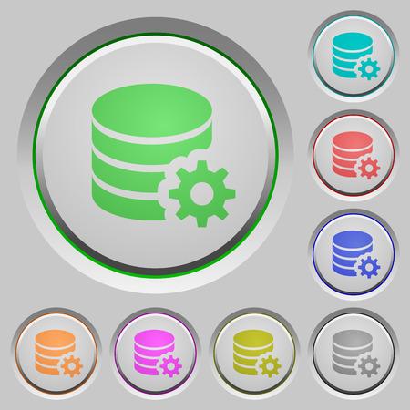 configuration: Set of color Database configuration sunk push buttons.