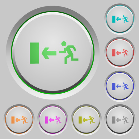 sunk: Set of color exit sunk push buttons. Illustration