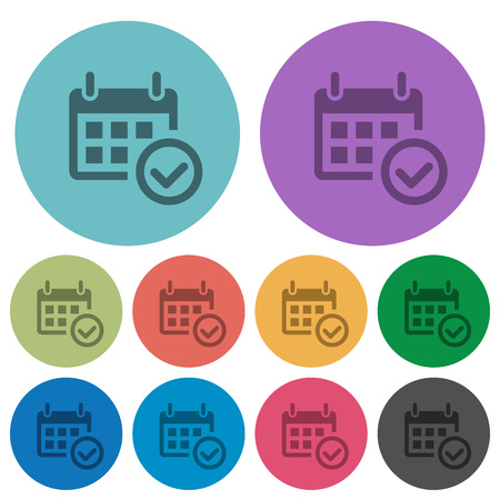 Color calendar check flat icon set on round background. Vectores
