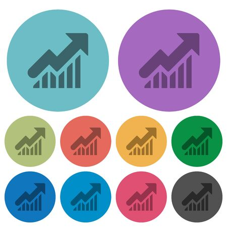 Color rising graph flat icon set on round background.
