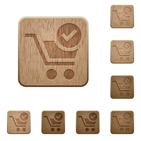 variations: Set of carved wooden checkout buttons in 8 variations. Illustration