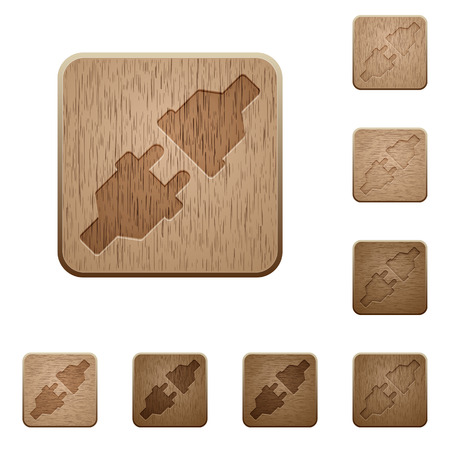 unplugged: Set of carved wooden Unplugged power connectors buttons in 8 variations.