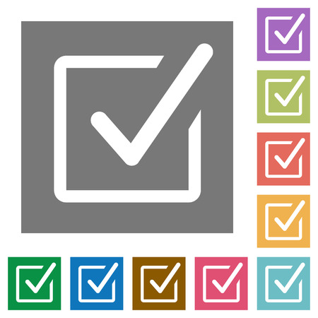Checked box flat icon set on color square background.