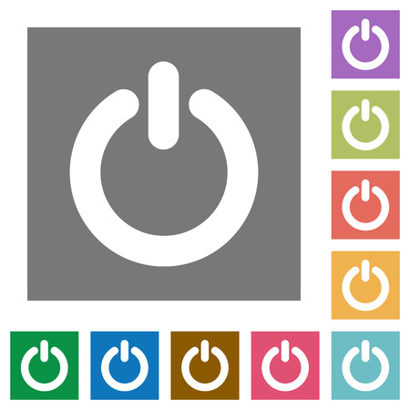 poweron: Power switch flat icon set on color square background.