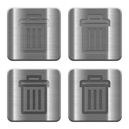 repeal: Set of delete buttons vector in brushed metal style. Illustration