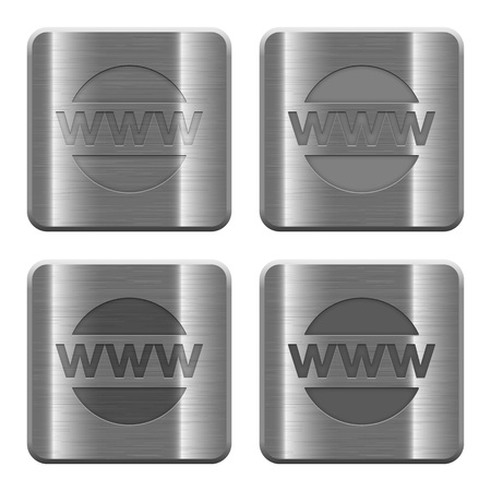 edu: Set of domain buttons vector in brushed metal style.