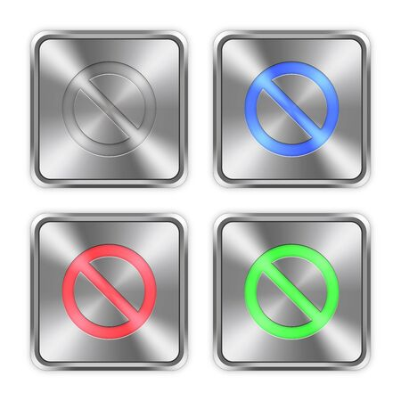 Color blocked icons engraved in glossy steel push buttons.
