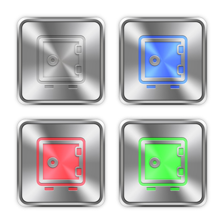 strong box: Color strong box icons engraved in glossy steel push buttons. Illustration