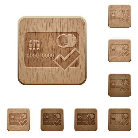 to accept: Set of carved wooden Accept credit card buttons in 8 variations. Illustration