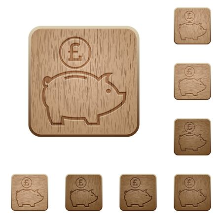 variations: Set of carved wooden Pound piggy bank buttons in 8 variations.