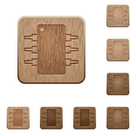 ic: Set of carved wooden Integrated circuit buttons in 8 variations.
