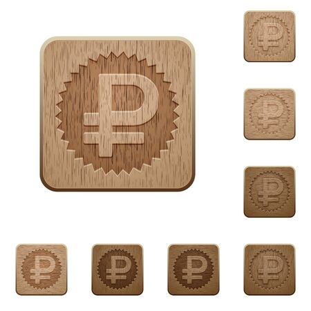 variations set: Set of carved wooden ruble sticker buttons in 8 variations.