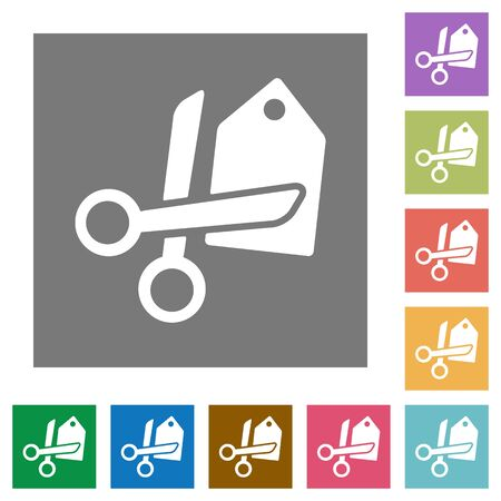price cut: Price cut flat icon set on color square background. Illustration