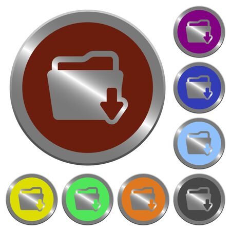 download folder: Set of glossy coin-like color download folder buttons.