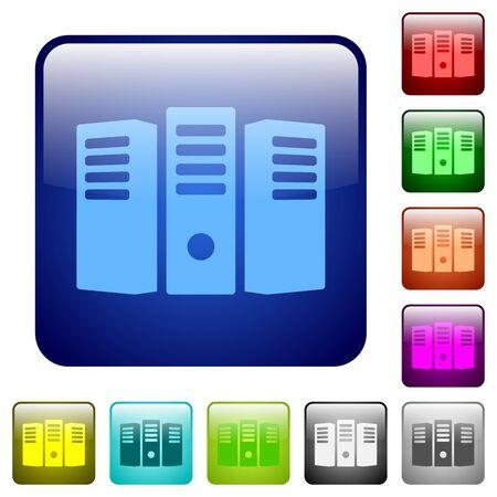 webserver: Set of server hosting color glass rounded square buttons