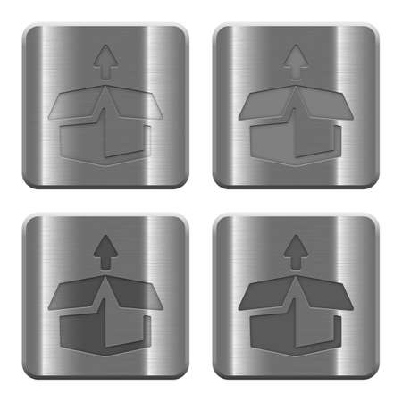 unpack: Set of unpack buttons vector in brushed metal style. Illustration